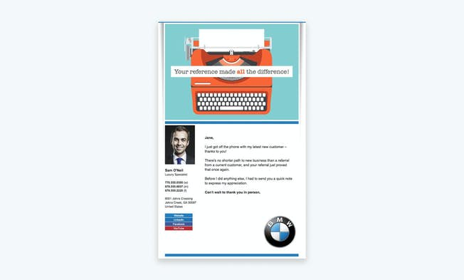 An email from BMW focused on referral