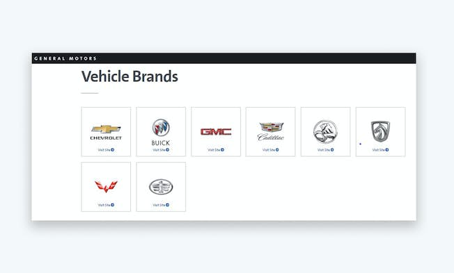 This screenshot from the General Motors website shows their selection of car brands. Credit: www.gm.com/our-brands