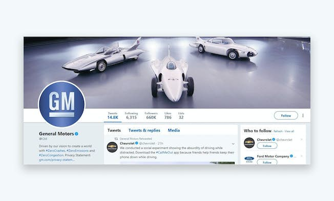 The General Motors Twitter account outlines the company culture and is visually impressive. Credit: https://twitter.com/GM?ref_src=twsrc%5Egoogle%7Ctwcamp%5Eserp%7Ctwgr%5Eauthor