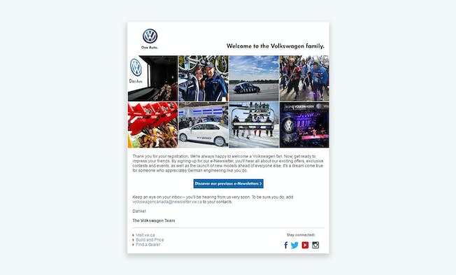 A subscriber welcome email from Volkswagen