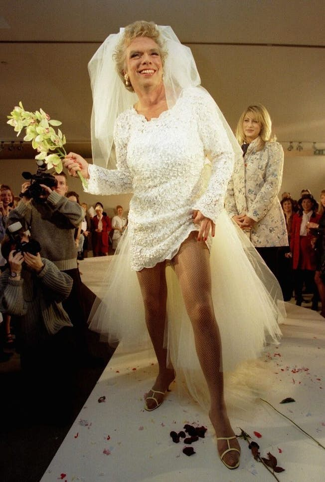 Sir Richard Branson dressed up as a bride to promote Virgin Brides