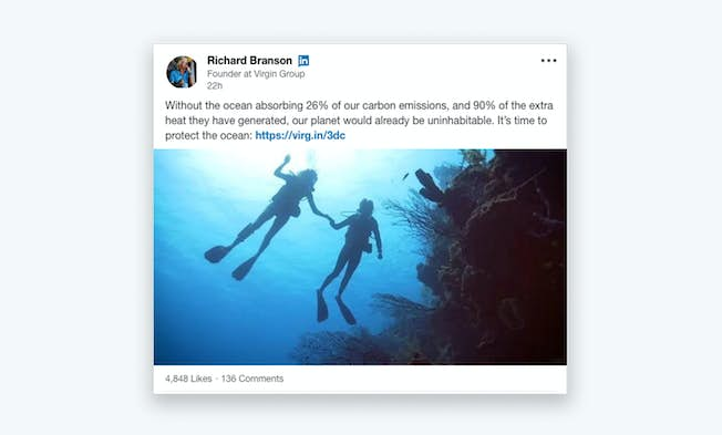 An example of a visually impressive LinkedIn post from Branson