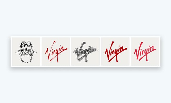 Several iterations of the Virgin logo over the years